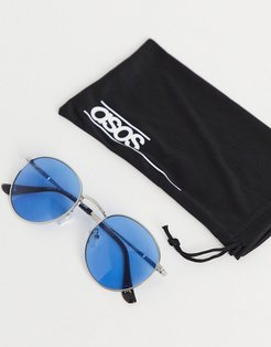 round sunglasses in silver metal with blue lens