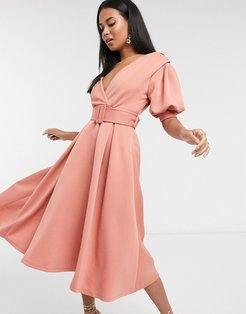 ruched shoulder-belted soft prom midi dress in pink