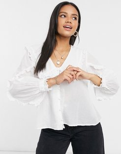 ruffle collar blouse with broderie trim in ivory-White