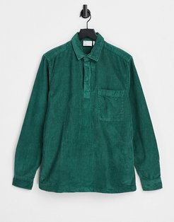 rugby style overhead cord shirt in green