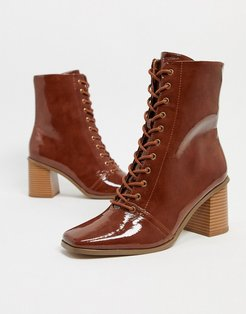 Rylee square toe lace up boots in tan patent-Brown