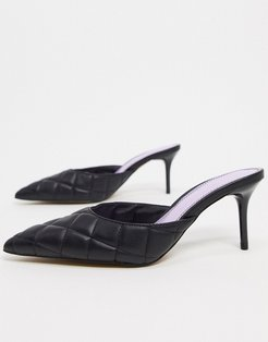 Simply quilted mid-heeled mules in black