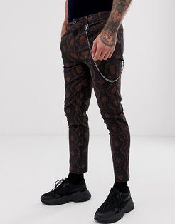 skinny ankle grazer pants in snake print with chain-Brown