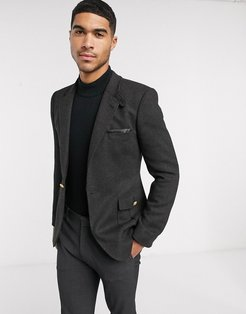 skinny blazer with military tabs in charcoal wool mix twill-Gray