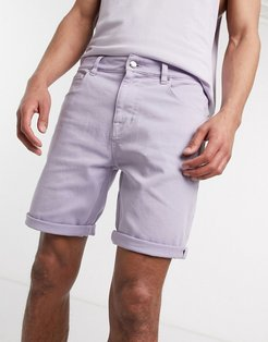 skinny denim shorts in lilac-Purple