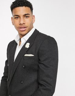 skinny double breasted blazer in charcoal wool mix twill-Gray