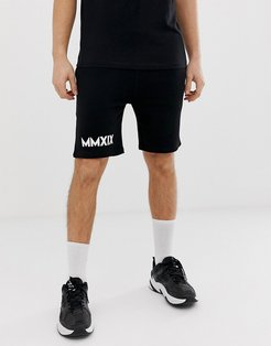 skinny jersey shorts with roman numerals-Black