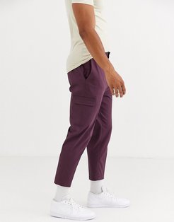 skinny smart pants in burgundy cotton with cargo pockets-Red
