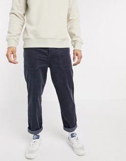 slim cord pants with utility pockets in blue