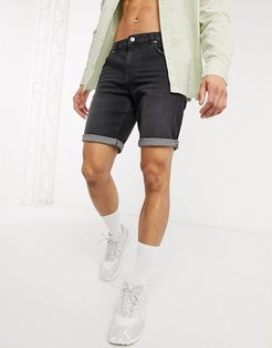 slim denim shorts in washed black with abrasions