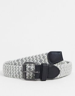 slim woven elastic belt in gray and white-Grey