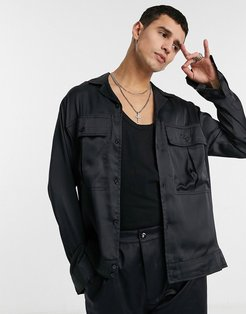 Smart co-ord satin overshirt with camp collar in navy