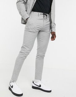 smart skinny pants with drawstring waist in grid plaid heather gray - part of a set-Brown