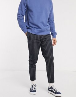 smart tapered pinstripe pant in navy