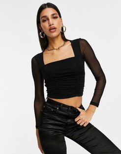 square neck long sleeve ruched bodice in black