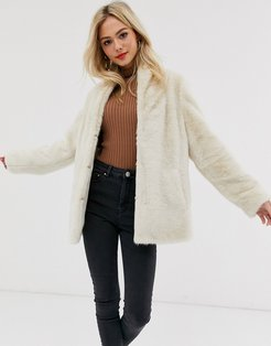 stand collar faux fur coat-White