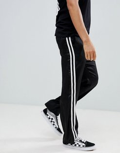 straight pants in black with white side tape