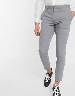 super skinny cropped smart pants in gray-Grey