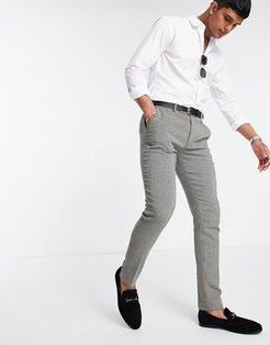 super skinny smart pants in gray dog tooth-Grey
