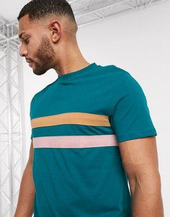 t-shirt with chest stripe in green