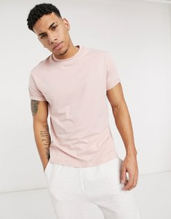 t-shirt with roll sleeve in pink