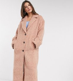 ASOS DESIGN Tall batwing textured slouchy oversized coat in pink