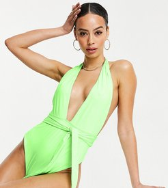ASOS DESIGN tall belted plunge swimsuit in washed neon green