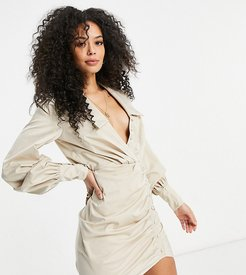 ASOS DESIGN Tall button detail shirt mini dress with ruched skirt in sand-Multi