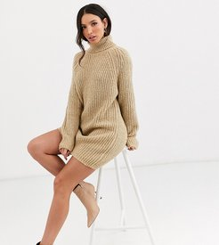 ASOS DESIGN Tall chunky mini dress with roll neck-Neutral