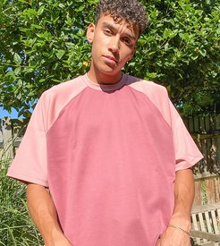 Tall extreme oversized t-shirt in polytricot in tonal pink