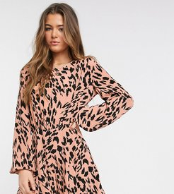 ASOS DESIGN Tall floaty romper with godet inserts in smudged animal print-Multi