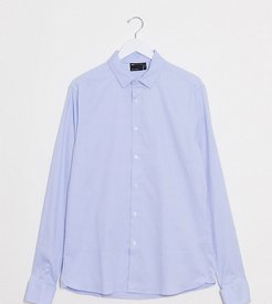 Tall formal skinny fit oxford shirt in blue with double cuff