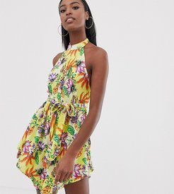 ASOS DESIGN Tall high neck hanky hem beach dress in yellow tropical print-Multi