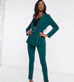 ASOS DESIGN Tall jersey slim suit pants in forest green