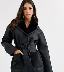 ASOS DESIGN Tall luxe leather look wrap over jacket in black