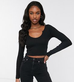 ASOS DESIGN Tall notch front long sleeve crop top in rib in black