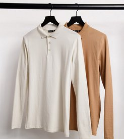 Tall organic long sleeve muscle fit polo save-Multi