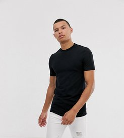 Tall organic muscle fit t-shirt with crew neck in black