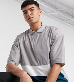 Tall oversized polo shirt with zip neck and gray woven color block-Grey