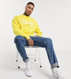 Tall oversized sweatshirt in yellow with chicago print