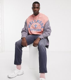 Tall oversized t-shirt with bomber style neck and wellness text slogan print-Pink