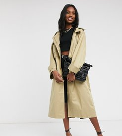 ASOS DESIGN Tall oversized utility trench coat in stone-Neutral