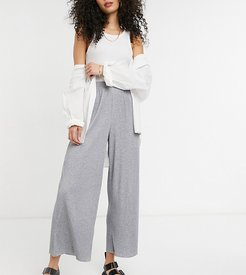 ASOS DESIGN Tall plisse culotte pants in gray heather-Grey