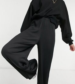 ASOS DESIGN Tall plisse wide leg pants in black