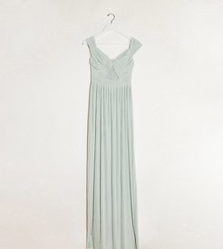ASOS DESIGN Tall premium lace and pleat off-the-shoulder maxi dress in sage-Neutral