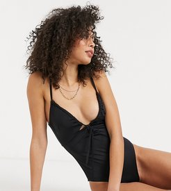 ASOS DESIGN tall recycled ruched tie swimsuit in black
