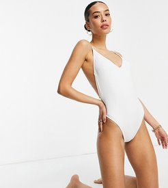 ASOS DESIGN tall recycled strappy low back swimsuit in white