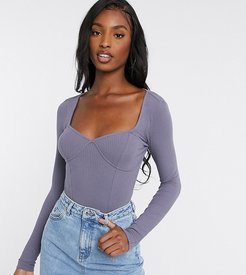 ASOS DESIGN Tall rib bodysuit with bust seams and long sleeve in blue