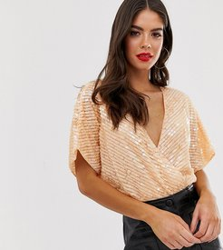 ASOS DESIGN Tall sequin embellished wrap body with angel sleeve-Orange