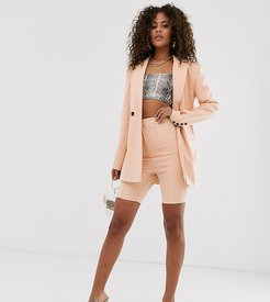 ASOS DESIGN tall skinny fit suit shorts-Beige